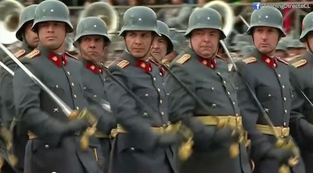 Chilean Reserve Officers Marching in Parade