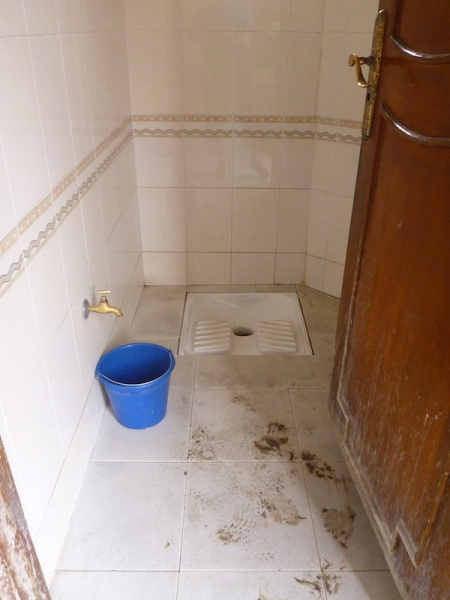 A typical Moroccan squat toilet