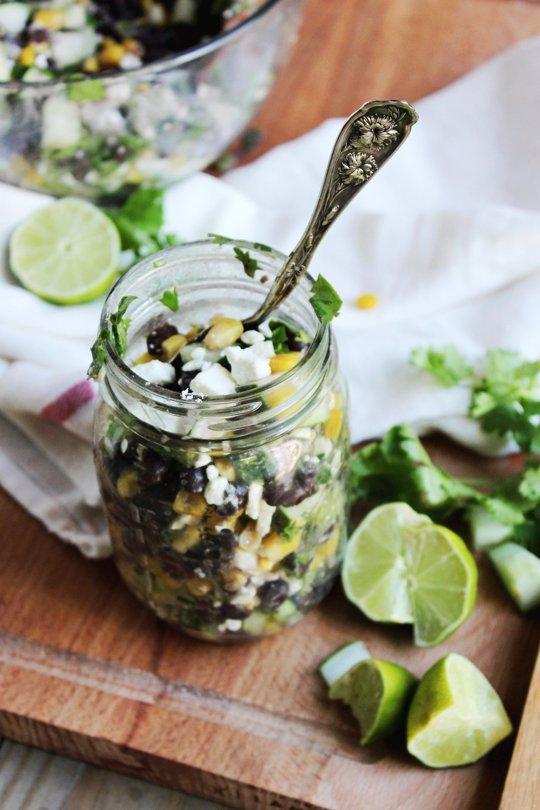 Chilled Black Bean, Feta and Cucumber Salad
