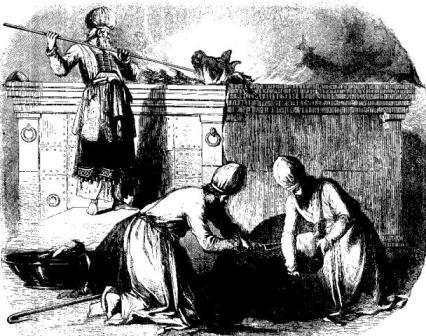 Priests prepare a sacrifice in the Temple of Herod