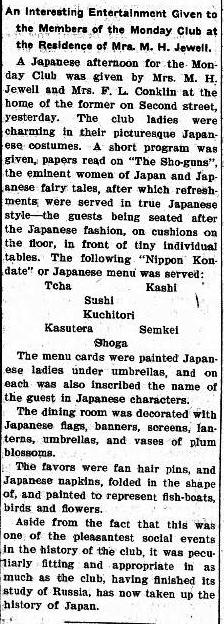 Sushi served in Bismarck, North Dakota in 1905