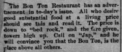 Bon Ton in Prescott, Arizona, the first Japanese owned restaurant in America
