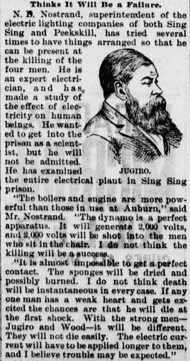 Shibuya Jugiro was electrocuted at Sing Sing on July 7th, 1891.