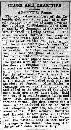 The Columbia Club of Minneapolis entertains itself with 'Afternoon in Japan', with a meal of raw fish in 1904