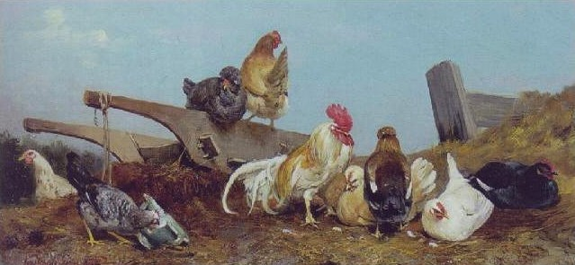 Géza-Vastagh-Chickens-on-a-Dunghill