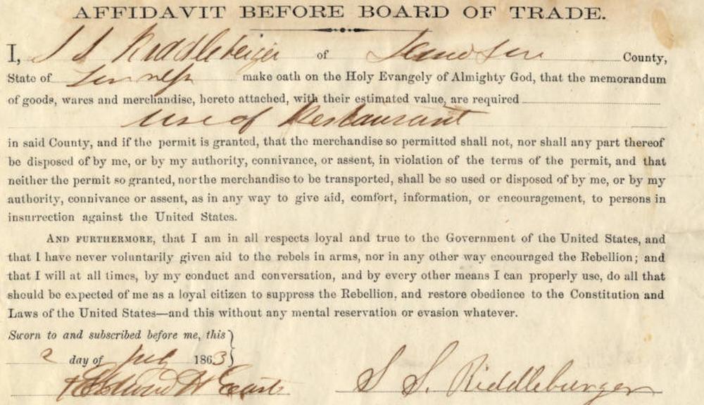 Union Army Board of Trade Affidavit, Nashville.