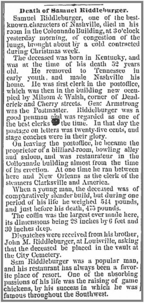 Sam Riddleburger's Obituary. The Daily American, January 7, 1877