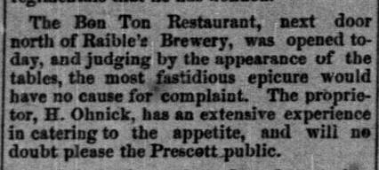 The Bon Ton Restaurant in Prescott, AZ, 1878