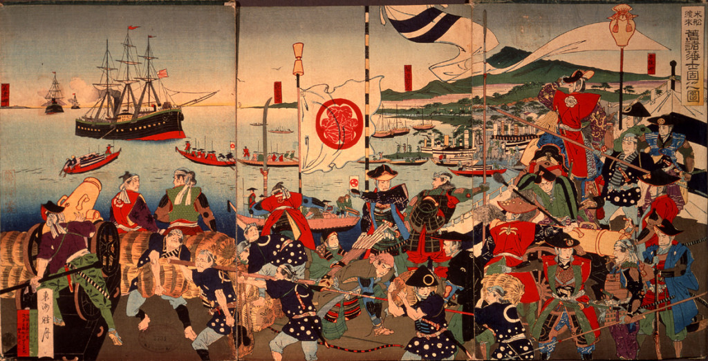 An 1889 Japanese woodblock print of samurai and Commodore Perrys black ships.