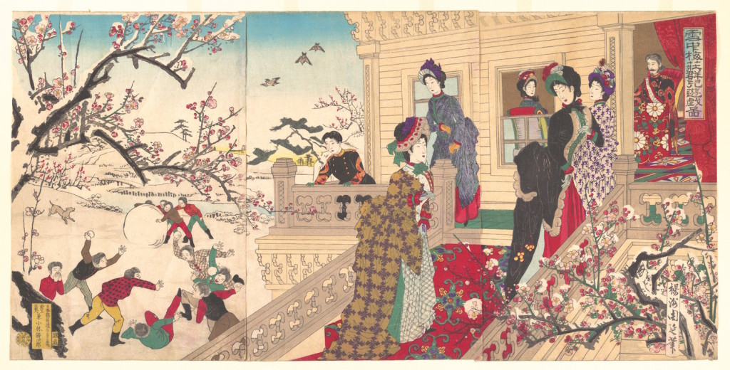 Hashimoto Chikanobus woodblock print of winter.