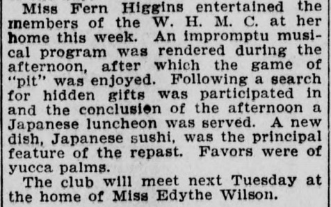 Miss Fern Higgins of Santa Monica, California, serves the ladies of the W.H.M.C a new dish, sushi.