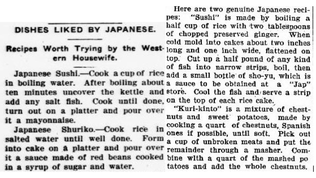 Two sushi recipes sent out through syndication and published on the women's pages in American newspapers in 1906