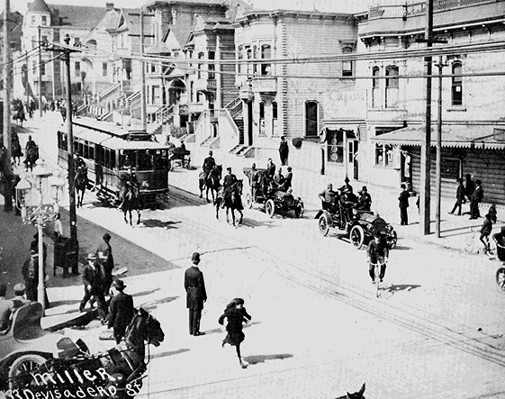 San Francisco mounted policemen accompany a streetcar manned by scabs during the San Francisco Streetcar Strike of 1907