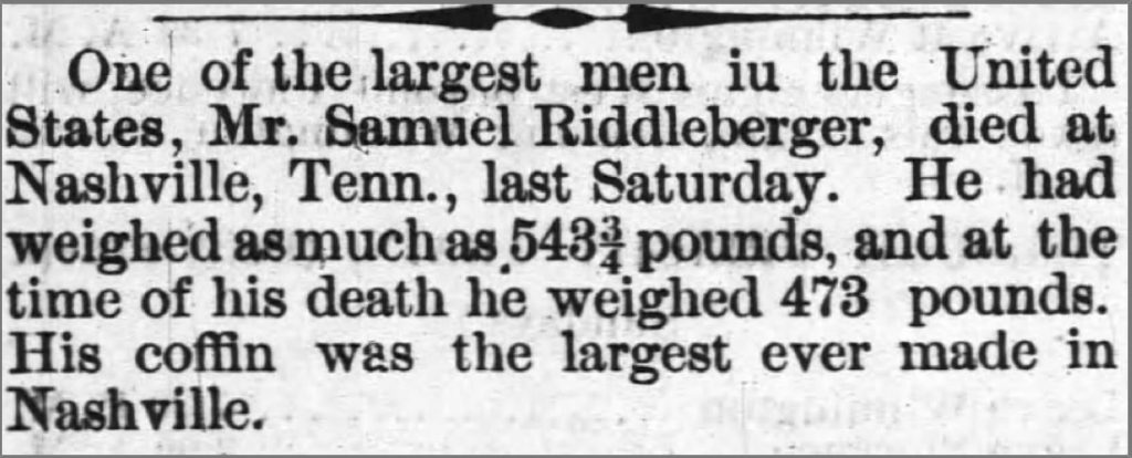 San Riddleberger Obituary: Raleigh (N.C.) Observer, January 14, 1877