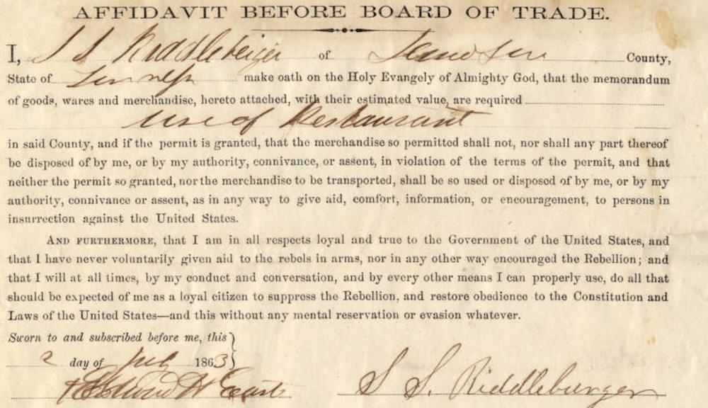 Union Army Board of Trade Affidavit, Nashville.